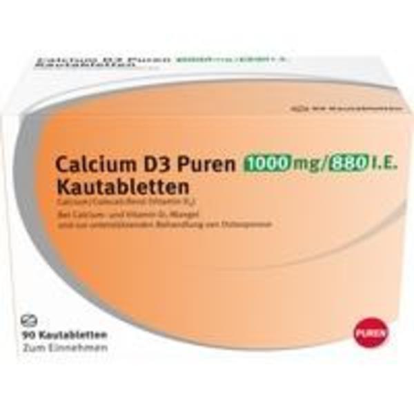 CALCIUM D3 Puren 1000 mg/880 I.E. Kautabletten 90 St