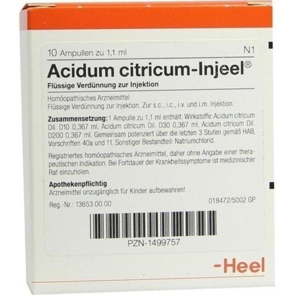 ACIDUM CITRICUM INJEEL Ampullen 10 St