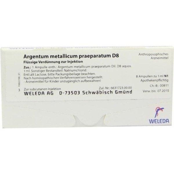ARGENTUM METALLICUM praeparatum D 8 Ampullen 8 St