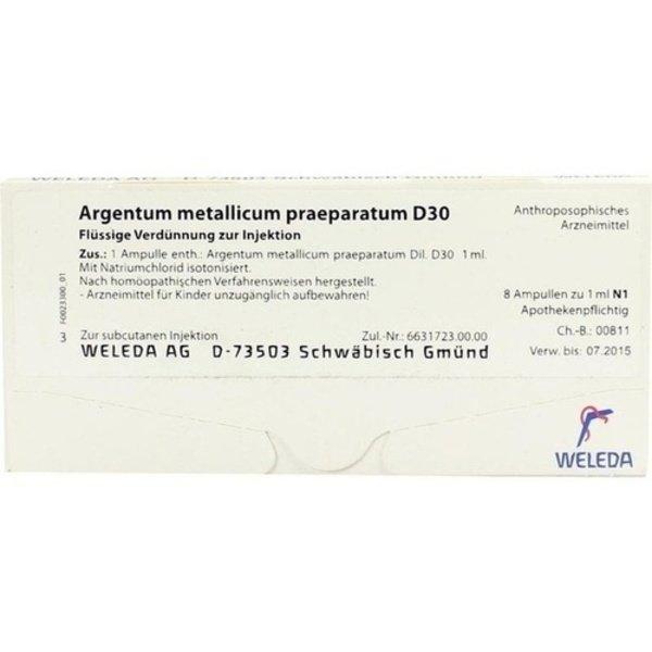 ARGENTUM METALLICUM praeparatum D 30 Ampullen 8 St