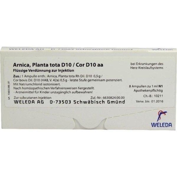 ARNICA PLANTA tota D 10/Cor D 10 aa Ampullen 8X1 ml