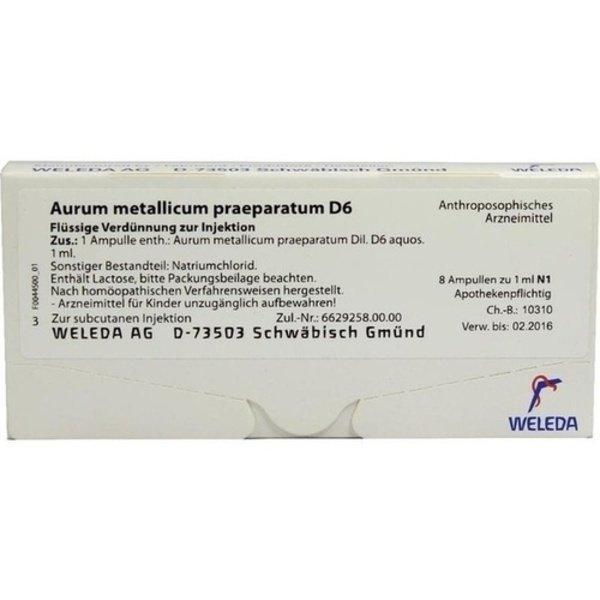 AURUM METALLICUM PRAEPARATUM D 6 Ampullen 8 St