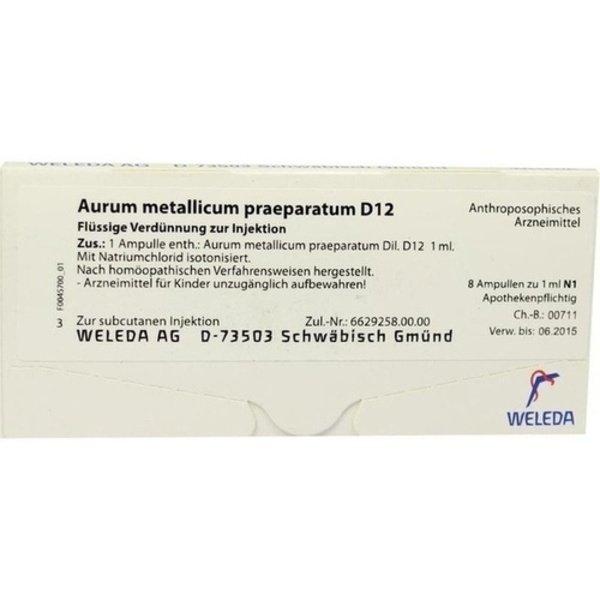 AURUM METALLICUM PRAEPARATUM D 12 Ampullen 8 St