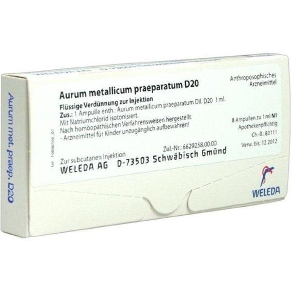 AURUM METALLICUM PRAEPARATUM D 20 Ampullen 8 St
