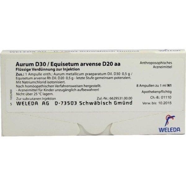 AURUM D 30/Equisetum arvense D 20 aa Ampullen 8X1 ml