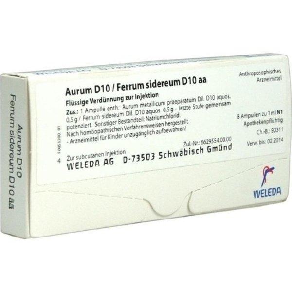 AURUM D 10/Ferrum sidereum D 10 aa Ampullen 8X1 ml