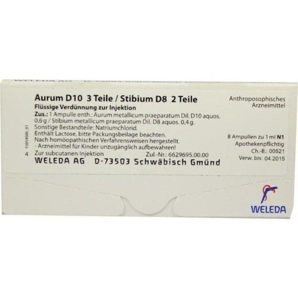 AURUM D 10/Stibium D 8 Ampullen 8X1 ml