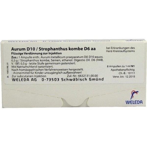 AURUM D 10/Strophanthus kombe D 6 aa Ampullen 8X1 ml