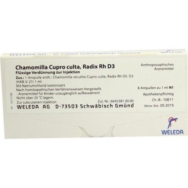 CHAMOMILLA CUPRO culta Radix Rh D 3 0,1% Ampullen 8X1 ml