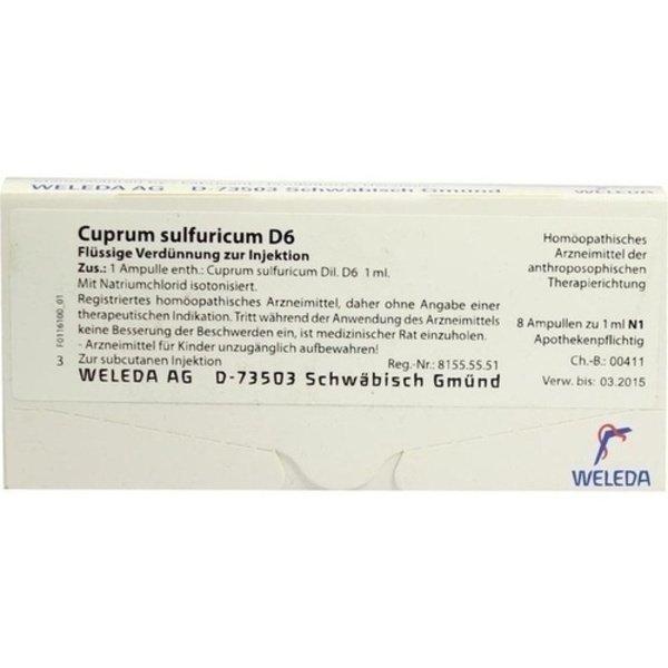 CUPRUM SULFURICUM D 6 Ampullen 8X1 ml