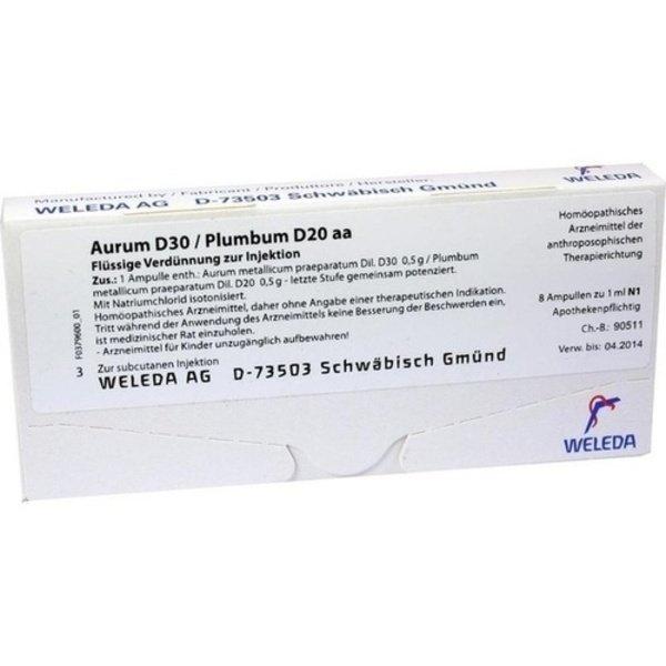 AURUM D 30/Plumbum D 20 aa Ampullen 8X1 ml